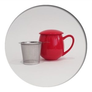 Red Tea Mug with infuser and lid