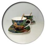 Leopard  set of 2 Mugs with Saucers