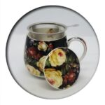 Black Flowers Mug with Infuser