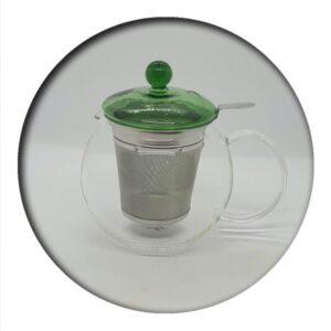 Fabi Glass Tea Pot 0.7 L with infuser (green lid)