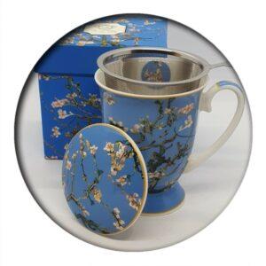 Van Gogh Almond Tree Blue Mug with infuser