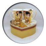 G Klimt The Kiss Mugs in Heart Box