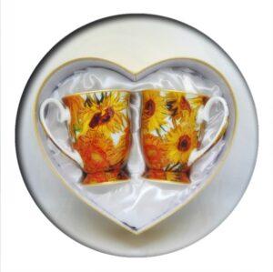 Van Gogh Sunflowers Mugs in Heart Box