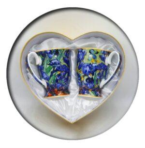 Van Gogh Irises Mugs in Heart Box